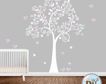 Pink and White Vinyl Swirl Tree Decal With Birds - Baby Vinyl Wall Decals - Nursery Wall Decal Tree - Vinyl Tree Decal - 824151