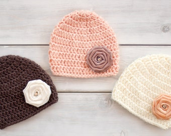 Flower Crochet Hats for Triplets