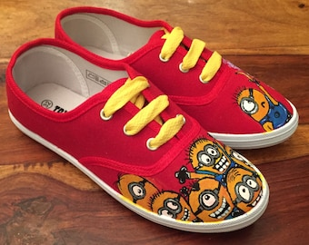Minions shoes! Custom made Children's Handpainted Shoes  (Minion theme)