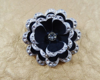 Vintage MADE IN GERMANY Signed Aluminum Silver Tone and Black Flower Brooch Pin