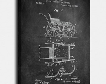 1895 Runner for vehicles Canvas Print, Runner for vehicles Patent,  Vintage Art,  Blueprint,  Poster, PatentPrints, Wall Art, Decor [Vi53C]