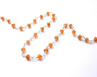 10 cm silver chain 925 with orange carnelian spacer beads PA0160