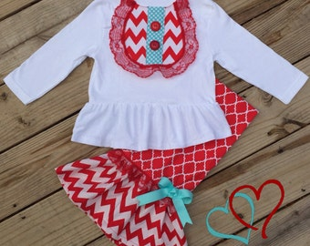 Girl's Red Chevron Ruffled Pant Set