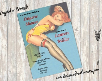 Redhead Pin Up Lingerie Shower Invitation
