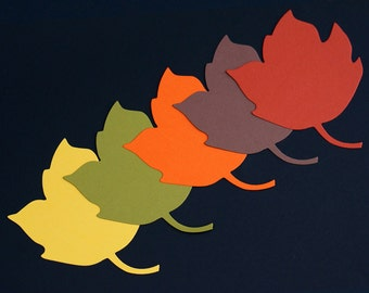 Autumn Leaf Die Cuts - Large Paper Maple Leaves - Fall Wedding - DIY Wish Tree Tags or Place Cards - Thanksgiving Wishing Tree - 4.75 inches