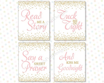 Read me a story tuck me in tight 8x10 Set of 4 (INSTANT DOWNLOAD) - Printable nursery art - Pink and gold nursery decor PG1