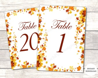 Fall wedding table numbers (INSTANT DOWNLOAD) - Table numbers wedding - Fall table numbers - Autumn wedding