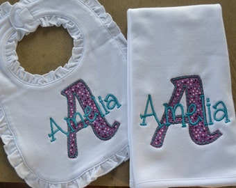 Initial Personalized Bib and burp cloth set, Girls embroidered/ Ruffled Bib and Burp cloth