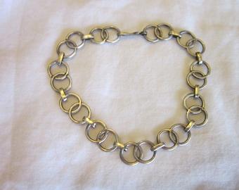Vintage Retro Sterling Silver Double Circle Link Bracelet or Charm Bracelet
