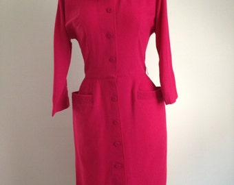 1950s 50s Ruby Red wool wiggle dress large vintage