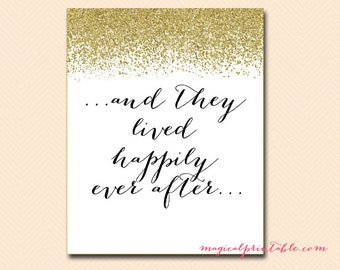 Happily ever after sign, instant download, printable wedding sign, Gold Glitter Bridal Shower Sign, baby Shower Sign BS88 SN21