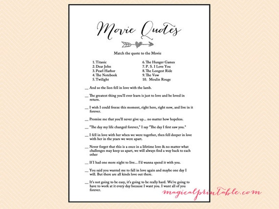 Movie quote game name that movie tribal bridal shower game movie quote game name that movie tribal bridal shower game printables silver arrow bachelorette wedding shower games bs109 stopboris Choice Image