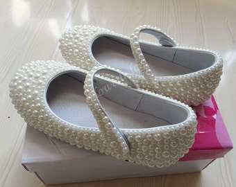 Custom Girls Shoes ivory Pearl Flower Girl Shoes mary janes Bridesmaid girls shoes ballet flats toddler girl shoes custom white ivory pearls