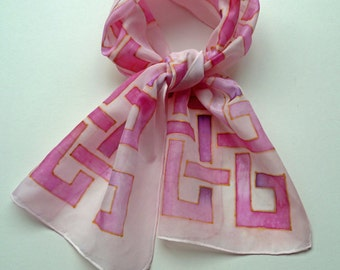 Pink, hand painted silk scarf, intertwine design