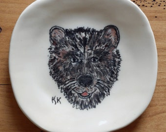 Ceramic Child's Dinner Plate Featuring a Friendly Bear
