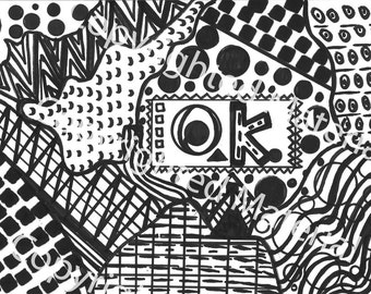 No. 26 – Hand Drawn Marker Art in Black and White Coloring Page