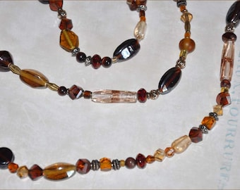 Amber Beaded Necklace, Extra Long Necklace, Gold Foil Beads, Vintage Bead Necklace, Double Strand Beads, Vintage Beads