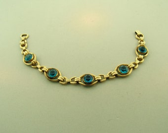 Vintage 1940s 12k GF Gemstone Art Deco Linked Bracelet