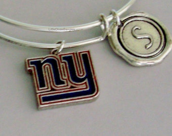 NY Giants CHARM Bangle W/ Initial Football Charm Bangle / Bracelet - Giants Charm Bracelet - Gift For Her NFL Sports Bangle -  Usa  Sp1