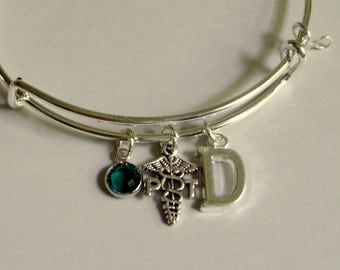 Swarovski Crystal / Initial to Physical Therapist Bangle W/ Silver infinity  / Adjustable Bangle Bracelet / Gift For Her Usa MD1