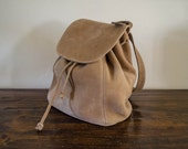 Vintage Coach Tan Beige Sonoma Pebbled Suede Leather Backpack Shoulder Purse Bag