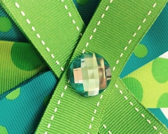Green and Turquoise jewel bow