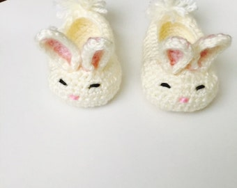 Crocheted Baby Bunny Slippers Baby Booties Bunny Slippers Bunny Booties