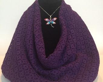 Infinity Scarf-Purple Weave Knit