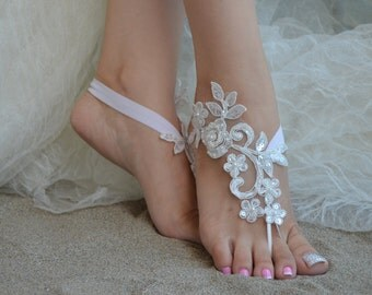 ivory lace barefoot sandals beach barefoot bridesmaid lace barefoot pearly lace anklet anklet lace sandals beach lace shoes wedding barefoot
