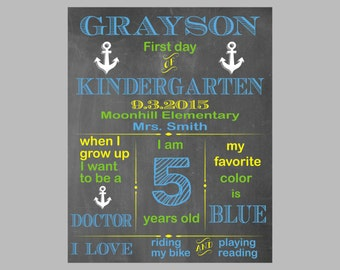 First Day of School Sign,First Day of Preschool First Day of Kindergarten,First Day of Pre-K Instant download, Personalized Chalkboard Sign