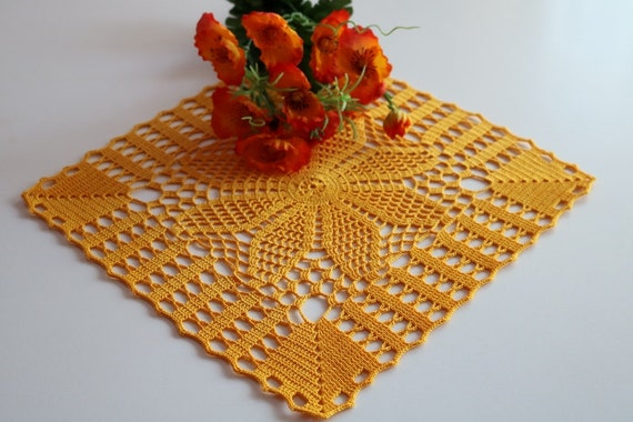 SALE 10%, Crochet doily, Square crochet doily, Handmade doily, yellow