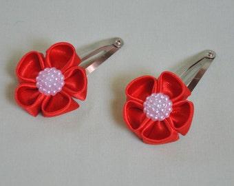 kanzashi snap hair clips - set of 2