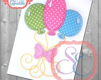 Birthday Balloons - Applique Embroidery Design For Machine Embroidery - INSTANT DOWNLOAD