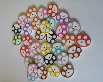 Wooden Paw Print Buttons x 10