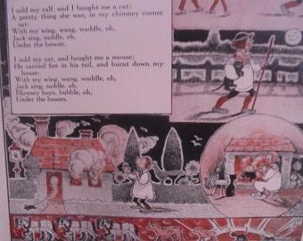 ON SALE 1923 S.C. Burnside illustrated nursery rhyme, Children's Encyclopedia, The Book of Knowledge