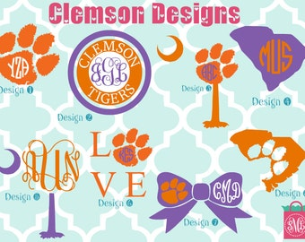Clemson University vinyl decals - monogram decals - monogrammed decals - Clemson Tigers - Tigers - South Carolina