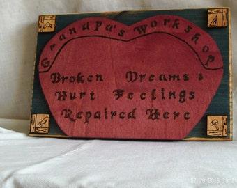 Wooden Grandpa's Workshop Sign