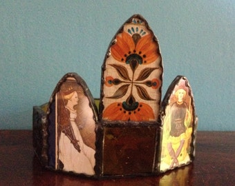 Regal Stained Glass Crown using Vintage Playing Cards