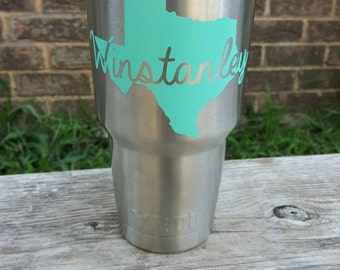 Yeti name decal - state stickers for yeti cup - personalized name vinyl decal - Yeti decal for women - Name Cut Through Your State