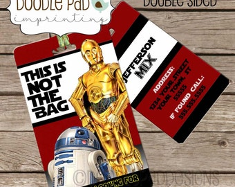 Star Wars Luggage Tag, Personalized Bag Tag R2D2 and CP3O