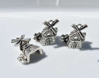 6  Dutch Charms - Holland Charm - Windmill Charm - Netherlands Charm - Wind Turbine Charm - Windmill Earring Charms - Silver Windmill  SC585