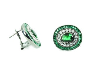 925 Silver Handmade Oval Calibre Trapeze Earrings Green and White Zirconia Black Rhodium Plating - Free Shipping