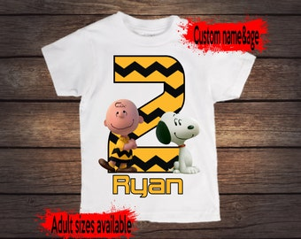 Peanuts Charlie Brown and Snoopy birthday shirt, custom name and age