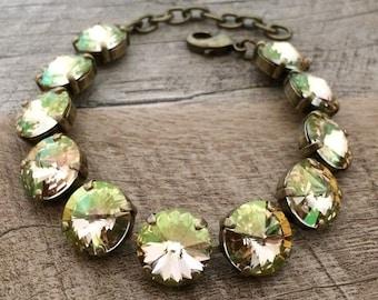 Swarovski Crystal 12mm Bracelet Stunning Luminous Green