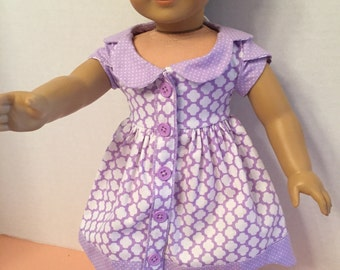"""Lilac colored """"Bluebell"""" dress for 18 inch dolls"""