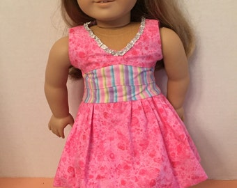 "American Girl  pink ""Lisianthus"" style dress from Lberty Jane's Melodie Valerie Couture line."