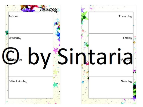 Filofax Personal Size Week - 1 Week on 2 Pages - 1W2P - Stars