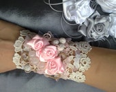 Ecru Lace Bracelet Cuff Decorated with Vintage Satin Roses and Volcanic Gems