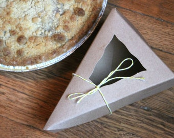 Kraft Individual Pie Box with Window / 20 boxes / Gift Boxes / Party Favor Boxes