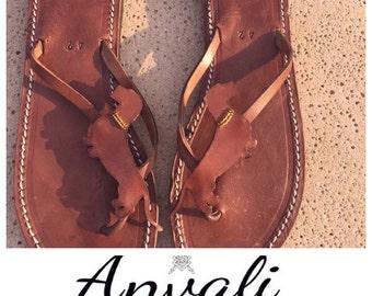 Wirehaired dachshund flip flops sandals leather handmade